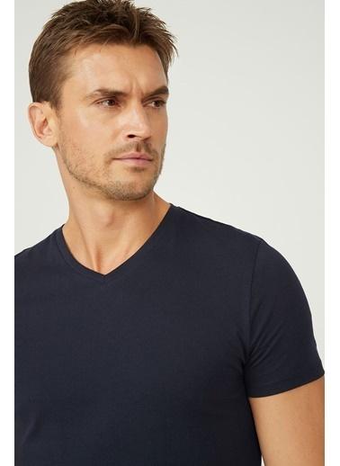 Avva E001001 V Yaka Düz T-Shirt E001001 Lacivert